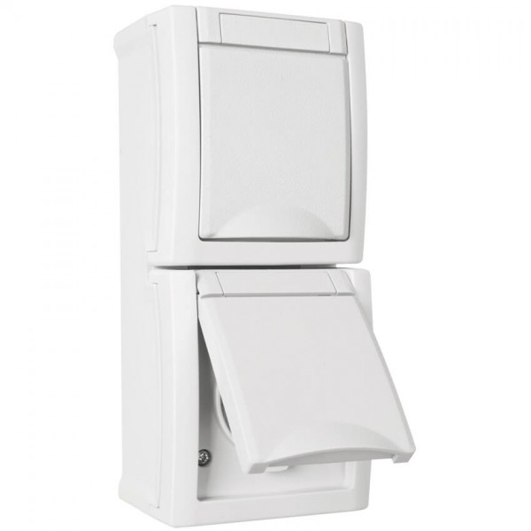 Panasonic® - AP/FR - PACIFIC - weiß - Steckdose, 2-fach, senkrecht