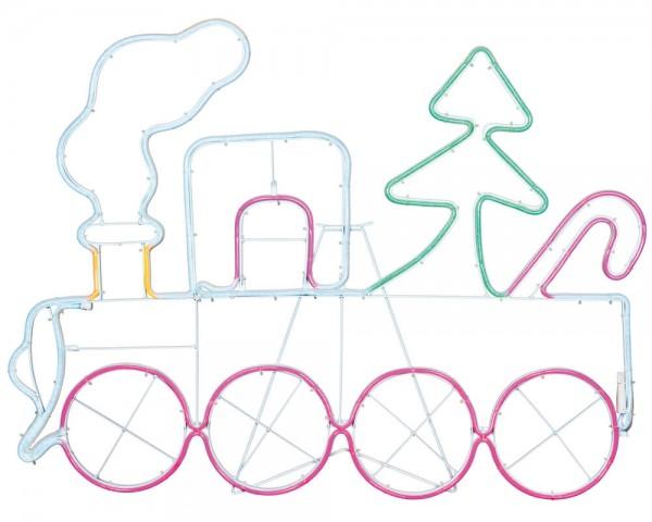 LED-Lichtschlauchmotiv, NEOLED, 94cm x 68cm, Weihnachtszug, 768 bunte LEDs