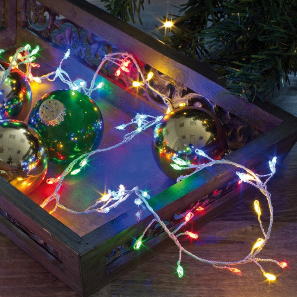 LED-Minilichterkette, Cluster, L 100cm, 100 bunte LEDs
