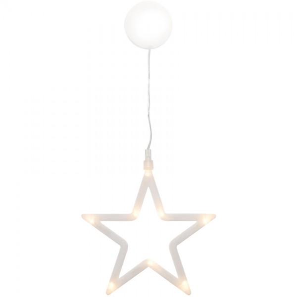 LED-Fensterbild Stern, 8 warmweiße LEDs, Ø 19cm, batteriebetrieben