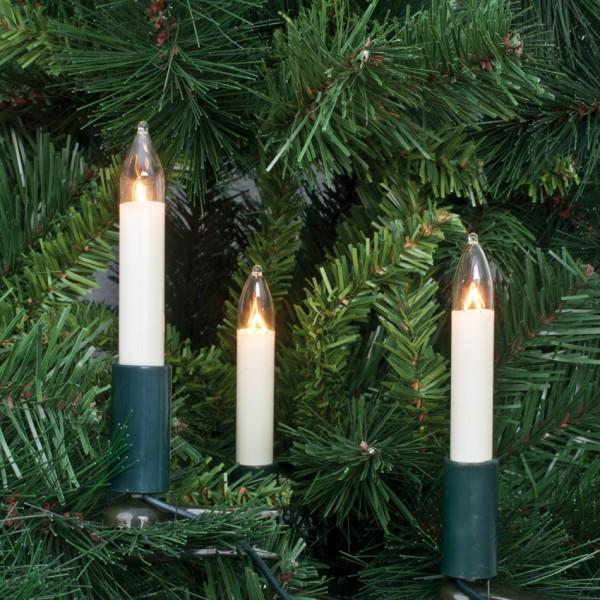 Weihnachtsbaumkette, L 15m, klar/elfenbein, 30 x E10-8V-3W, mit teilbarem Stecker