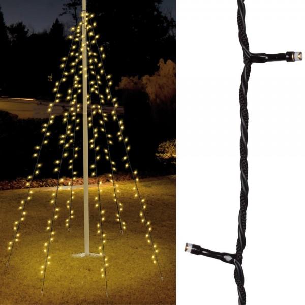 Fahnenmastbeleuchtung H 8m, 400 warmweiße LEDs, 10 Stränge