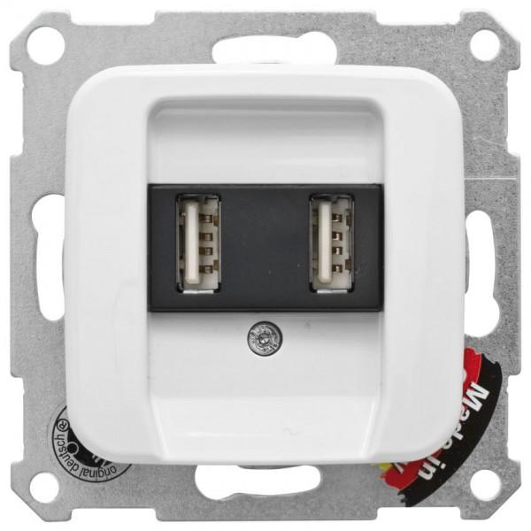 KLEIN®-SI - USB-Steckdose mit SI Kombi Abdeckung, 2xUSB, reinweiß