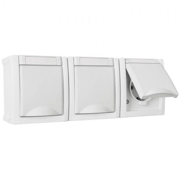 Panasonic® - AP/FR - PACIFIC - weiß - Steckdose, 3-fach, waagerecht