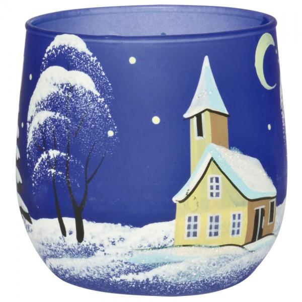 Teelichthalter, Winterlandschaft, blau, Ø 7cm, H 7cm, für 1 Teelicht