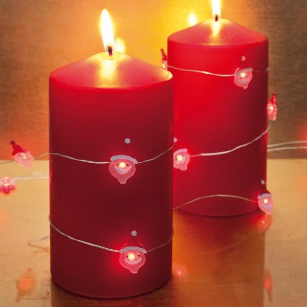 LED-Minilichterkette, Weihnachtsmänner, 60 rote LEDs, batteriebetrieben