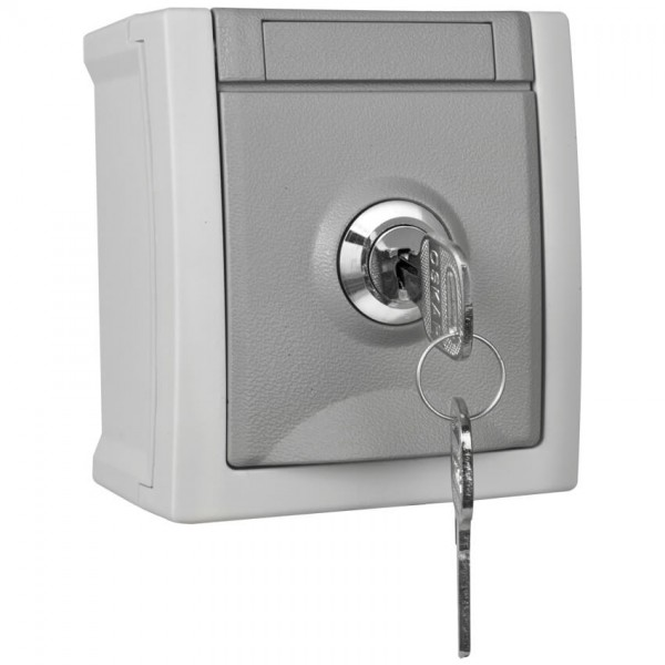 Panasonic® - AP/FR - PACIFIC - grau/dunkelgrau - Steckdose, 1-fach, abschließbar, Schließung 8