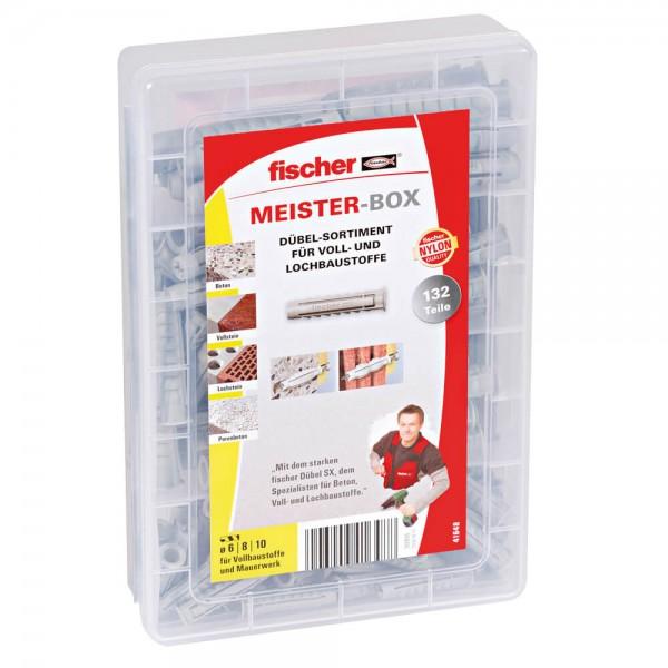 fischer® - Dübel-Sortiment, 132 Dübel SX, für Voll- und Lochbaustoffe, in Kunststoff-Sortierbox