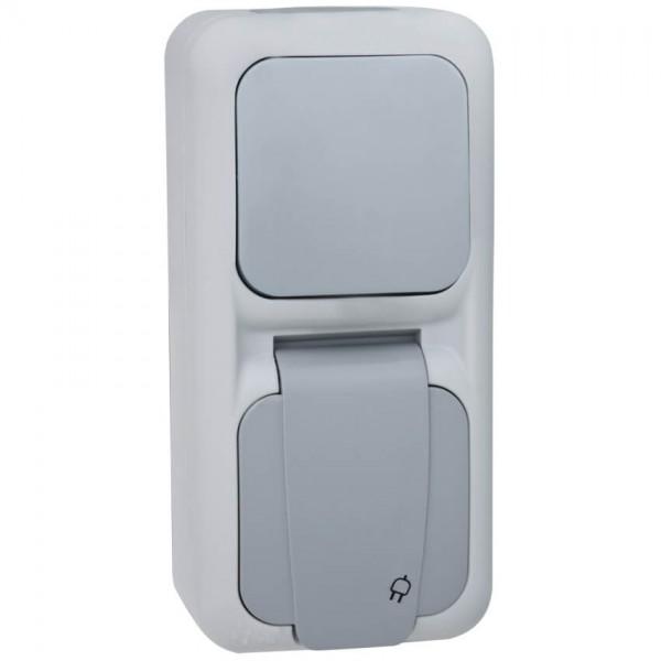 Panasonic® - AP/FR - PALMIYE - grau/dunkelgrau - Wechsel-Schalter/Steckdose, senkrecht