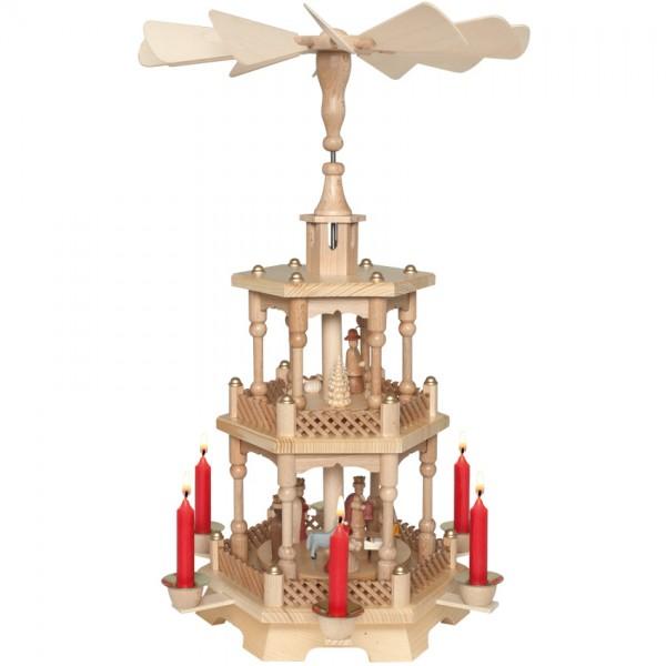 Weihnachtspyramide, 2-stöckig, für 6 Weihnachtskerzen H 47cm Ø 30cm