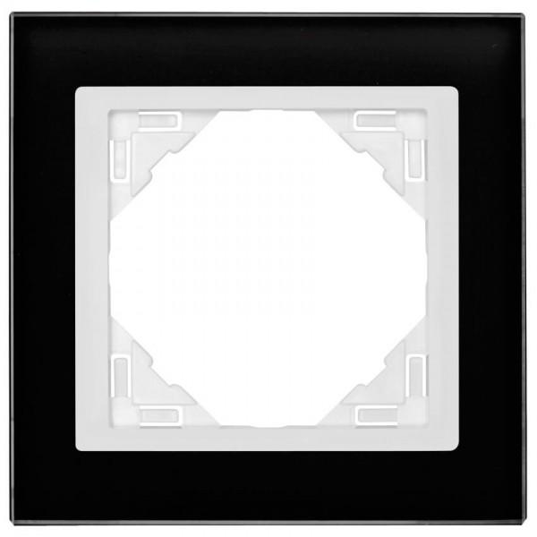 EFAPEL® - 1-fach Glas-Abdeckrahmen, LOGUS 90, Glas, schwarz, Kunststoff signalweiß