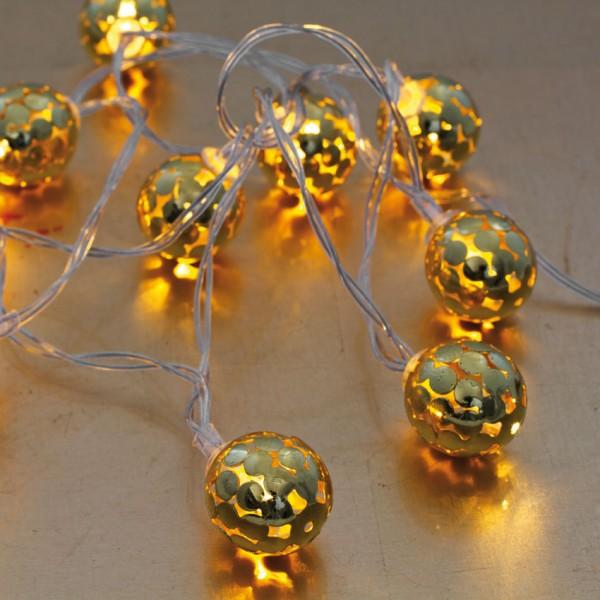 LED-Minilichterkette, Metallkugel gold, L 90cm, 10 warmweiße LEDs, batteriebetrieben