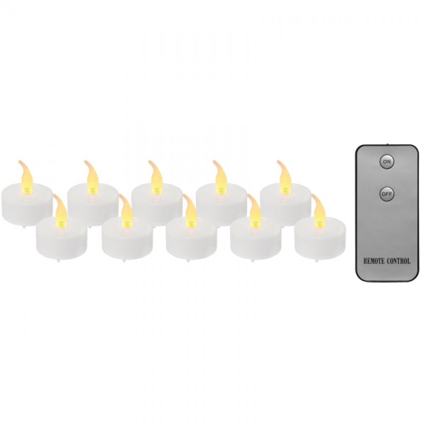 10x LED-Teelichter, je 1 LED, mit Fernbedienung