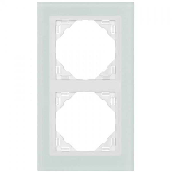 EFAPEL® - 2-fach Glas-Abdeckrahmen, LOGUS 90, Glas weiß, Kunststoff signalweiß