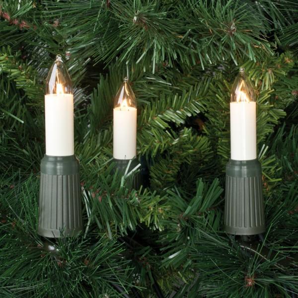Weihnachtsbaumkette, L 14m, klar/elfenbein, 15x E14-16V-4W, mit teilbarem Stecker