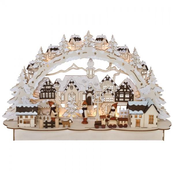 Weihnachtsleuchter, Winterstadt, 11 warmweiße LEDs