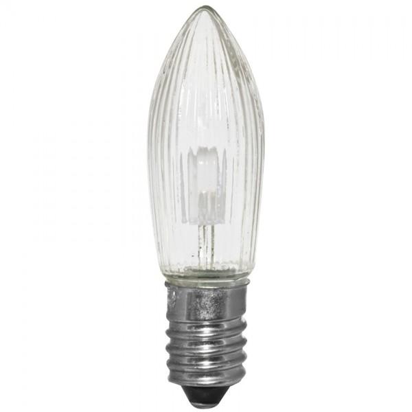3x LED-Topkerze, klar, E10-8-55V-0,1W, warmweiß