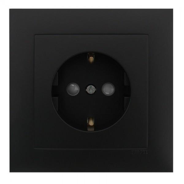 EFAPEL® - Komplett-Steckdose, LOGUS 90, schwarz matt, erhöhter Berührungsschutz