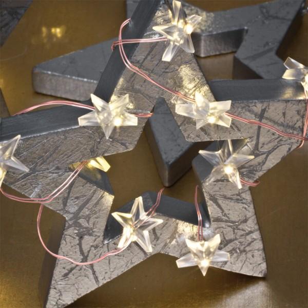 LED-Minilichterkette, kupfer, Sterne, L 110cm, 20 warmweiße LEDs, batteriebetrieben