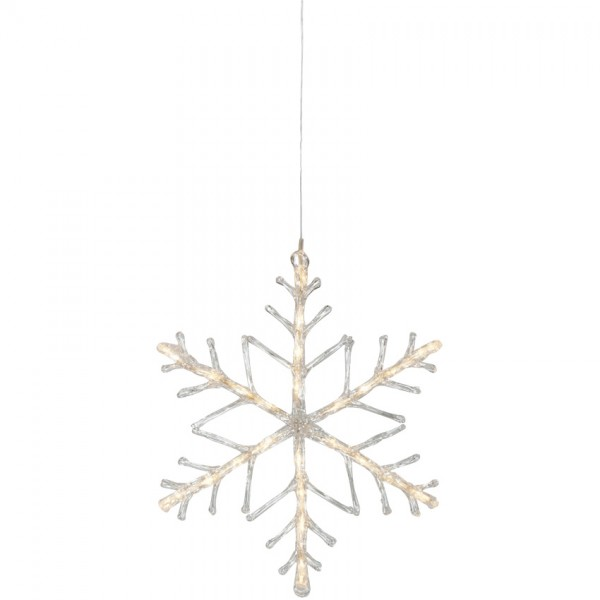 LED-Schneeflocke, Ø 42cm, 24 warmweiße LEDs batteriebetrieben