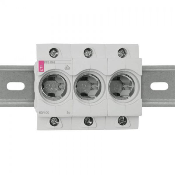 Einbausicherungssockel 3pol, D02/63A mit Berührungsschutz