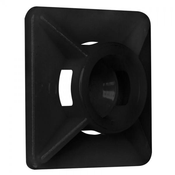 Don Quichotte® - Klebesockel für Kabelbinder, schwarz, 19x19mm, bis Breite: 4mm, 100 St.