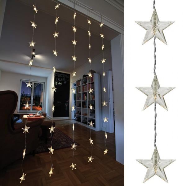 LED-Sternenlichtervorhang, B 90cm, L 200cm, 50 warmweiße LEDs
