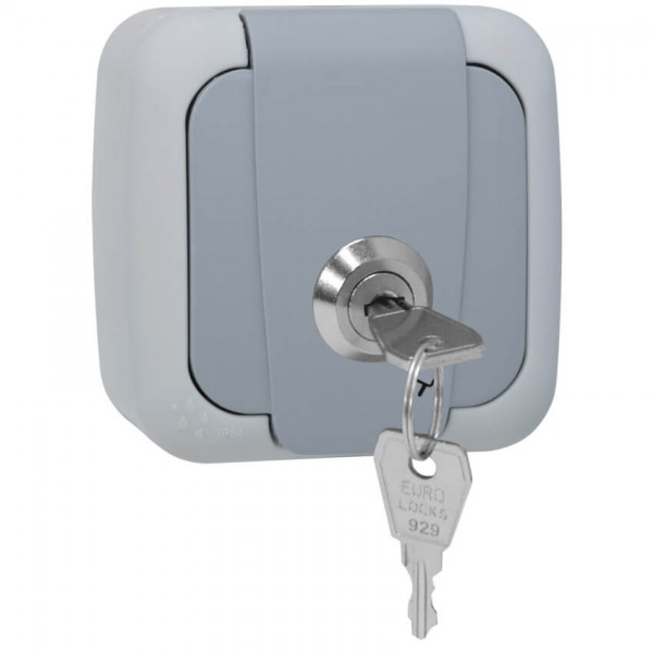 Panasonic® - AP/FR - PALMIYE - grau/dunkelgrau - Steckdose, 1-fach, abschließbar, Schließung 3