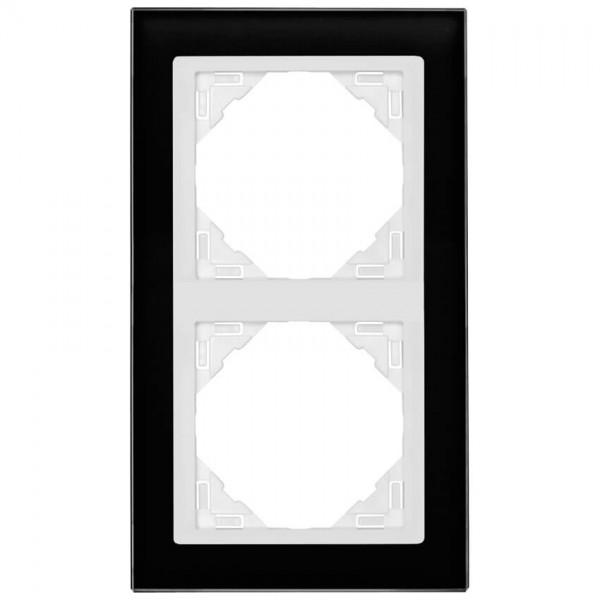 EFAPEL® - 2-fach Glas-Abdeckrahmen, LOGUS 90, Glas, schwarz, Kunststoff signalweiß