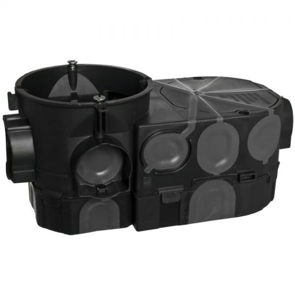 Elektronikdose mit Rohrstutzen und 4 Schraubdomen, winddicht