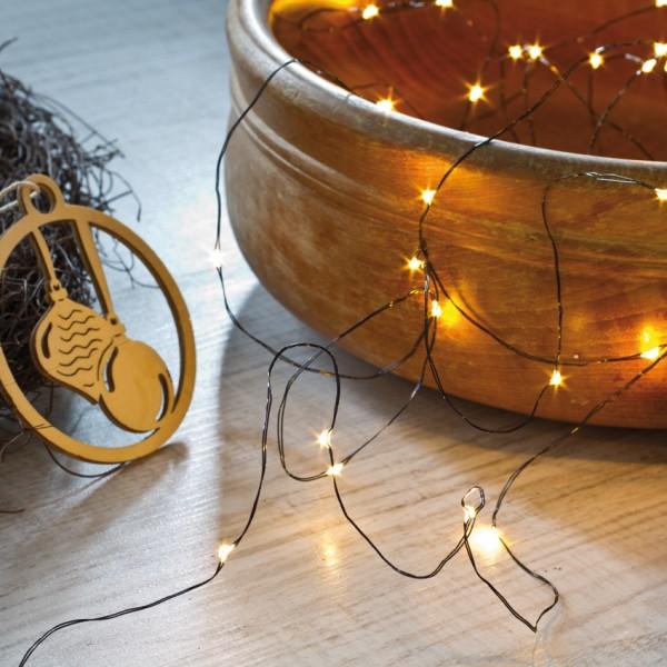 LED-Minilichterkette, L 3,9m, DEW DROPS, 40 warmweiße LEDs