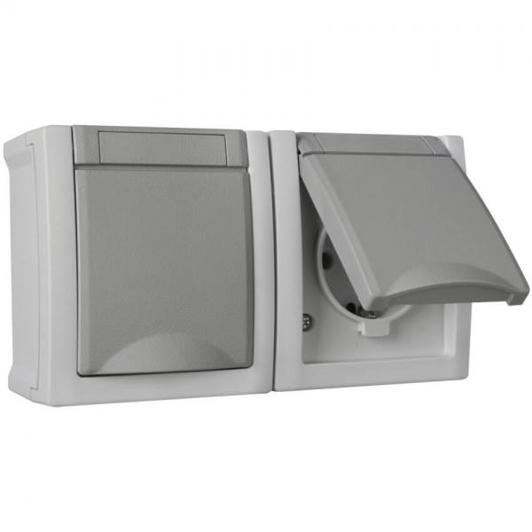 Panasonic® - AP/FR - PACIFIC - grau/dunkelgrau - Steckdose, 2-fach, waagerecht
