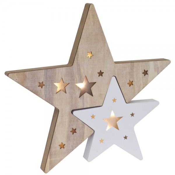 LED-Weihnachtsleuchter, Sterne, warmweiße LEDs, batteriebetrieben
