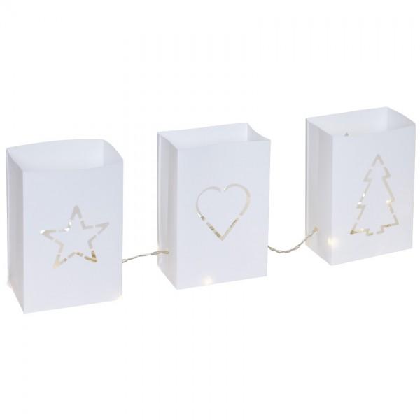 LED-Laternen, JÖNS, je 6 warmweiße LEDs, je H 15,5cm, B 10,5cm, T 6cm, Batterie und Netz möglich