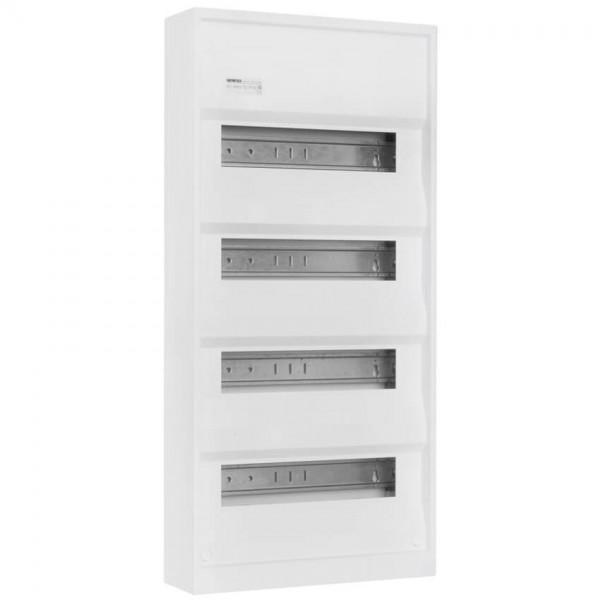 Aufputz-Kleinverteiler ohne Tür, weiß, 4-reihig für 48 Module
