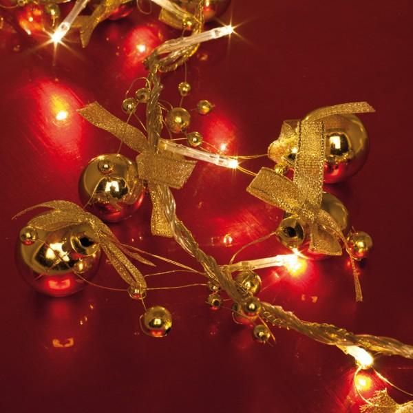LED-Minilichterkette, L 120cm, goldene Deko, 20 warmweiße LEDs