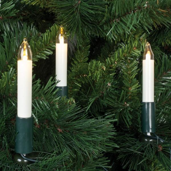 LED-Weihnachtsbaumkette, 7m, klar/elfenbein, 15 LEDs warmweiß, Schaftkerzen