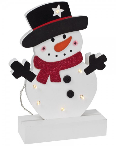 Weihnachtsleuchter, FREDDY, Schneemann, 6 warmweiße LEDs