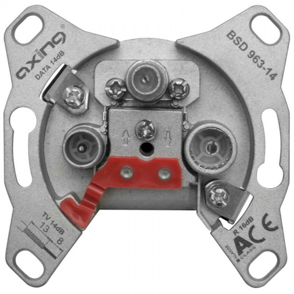 Axing® - Breitband-Multimedia-Antennensteckdose (Durchgangsdose)