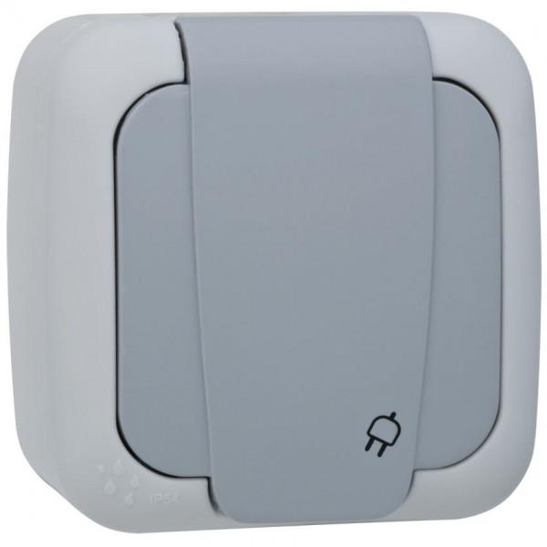 Panasonic® - AP/FR - PALMIYE - grau/dunkelgrau - Steckdose, 1-fach