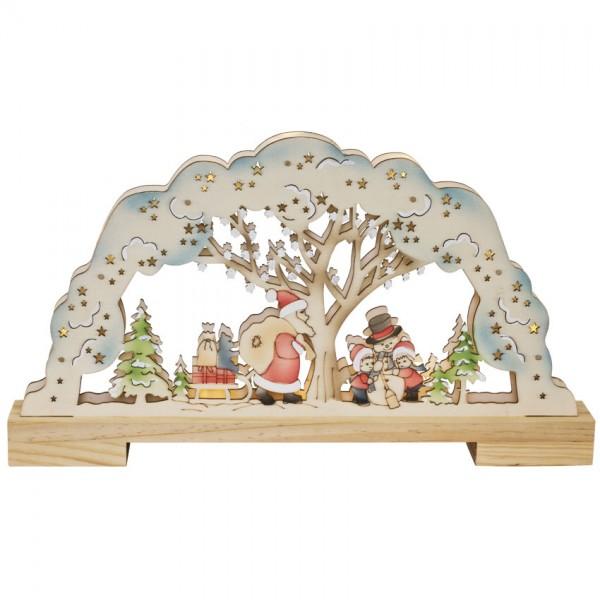 Weihnachtsleuchter, Weihnachtsmann, Schneemann mit Kindern, 10 warmweiße LEDs