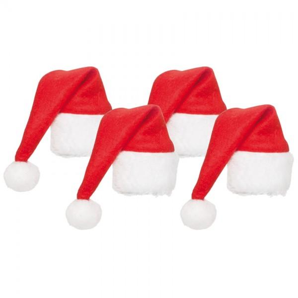 4 Weihnachtsmützen für Weinflaschen, H 18cm, Ø 35