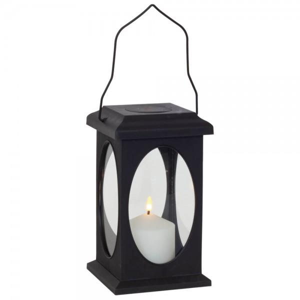 Laterne, schwarz, H23cm, 1 warmweiße LED
