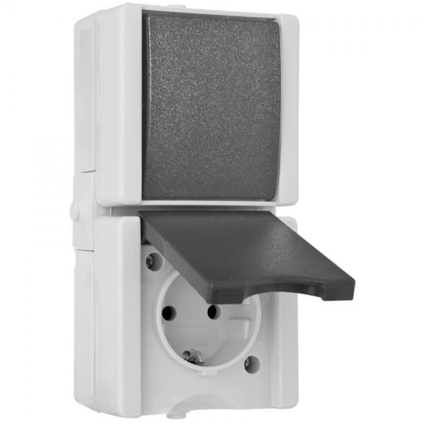 KOPP® - AP/FR - proAQA® - grau/hellgrau - Wechsel-Schalter/Steckdose, senkrecht