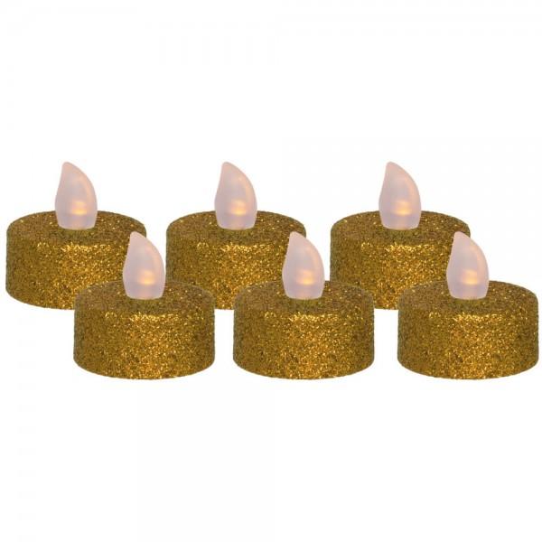 LED-Teelichter, gold, 6er-Set, je 1 flackernde orange LED, batteriebetrieben