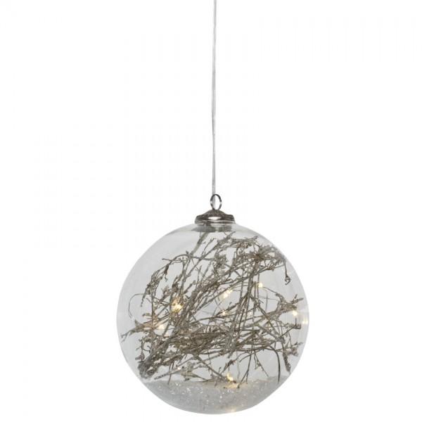 LED-Glaskugel, Ø 12cm, 10 warmweiße LEDs
