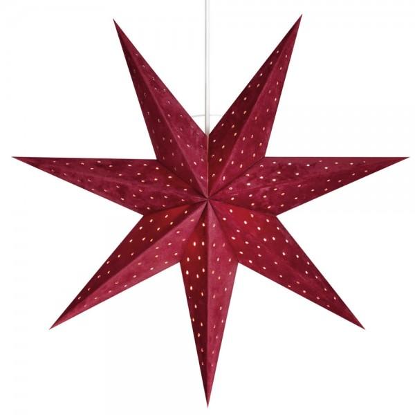 Weihnachtsstern, VELOURS, rot, hängend, Ø 45cm, 1 x E14/25W, samtbezogen