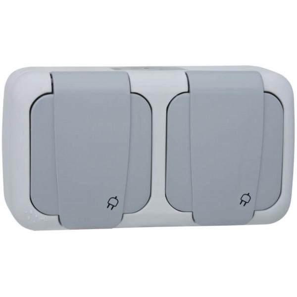 Panasonic® - AP/FR - PALMIYE - grau/dunkelgrau - Steckdose, 2-fach, waagerecht