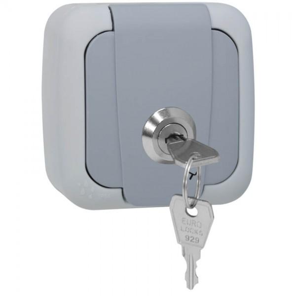 Panasonic® - AP/FR - PALMIYE - grau/dunkelgrau - Steckdose, 1-fach, abschließbar, Schließung 2