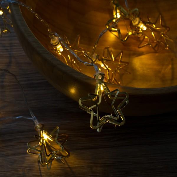 LED-Minilichterkette, 3D, L 100cm, goldene Sterne, 10 warmweiße LEDs